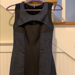 Shapely Guess Denim and Black shift dress!